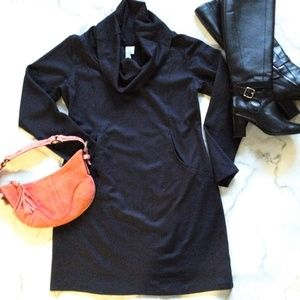 Sahalie Petit Cowl Neck Front Pocket Seamed Dress